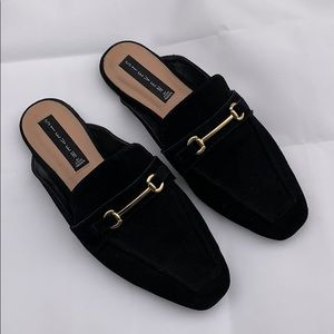 STEVEN Black Slip on Loafers with Gold Hardware